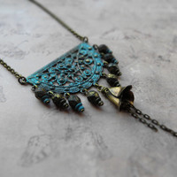 Bohemian patina filigree necklace / verdigris or blue-green patina brass pendant boho-chic / Czech glass, antiqued brass