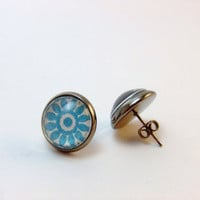 Turquoise Blue Floral Pattern Photo Glass Metallic Black Post Earrings