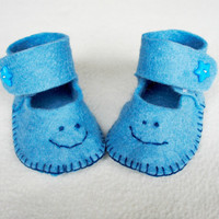 Felt baby shoes newborn, Felt Baby slippers, Baby boy botties, handmade, baby shower gift