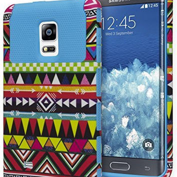 Samsung Galaxy Note Edge Hybrid  Blue Cover  Aztec Tribal Case