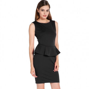 New Women Elegant Business Casual Party Peplum Work Bodycon Pencil Dress