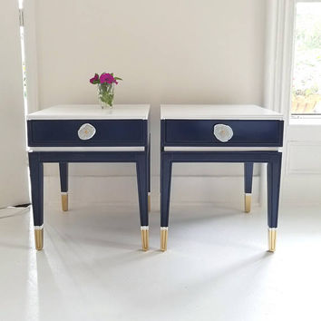 Little gems! Mid century end tables, Hollywood Recency, high gloss Navy, white,gold with agate knobs, preppy, painted furniture nj nyc