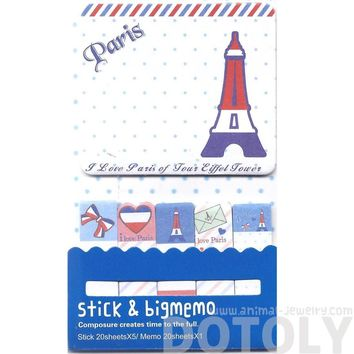 Large Eiffel Tower Print Paris Themed Memo Pad Post-it Index Sticky Bookmark Tabs in Blue and White