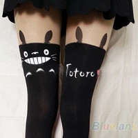 Japan Totoro Print Knee High Splice Socks Chinchilla Tattoo Tights Pantyhose B84
