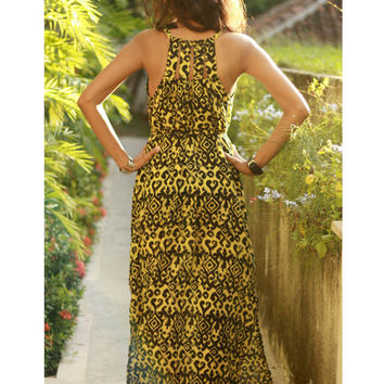 Women's Ethnic Dress / Black and Yellow Maxi Dress / Beach Cover Up / Sundress / Long Dress in Ikat Pattern / Summer Holiday Dress