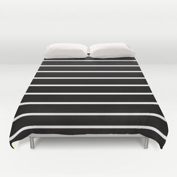 White Stripes on Black Pattern Duvet Cover by RexLambo