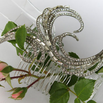 "Swarovski Crystals Bridal Hair Comb ""Growing Weed"", Wedding Hair Pieces, Rhinestone Combs, Wedding Hair Accessories, Bridal Headpieces"
