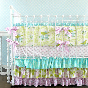 Aqua and Orchid Mockingbird Lottie Da Crib Bedding Set