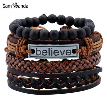 4 Pcs Vintage Multilayer Pu Leather Bracelets For Male Cuff Bracelet Beads Braclet Anchor Braslet Men Pulseras Hombre Sale