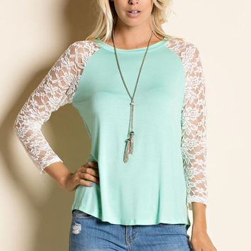 Mint Green Lace Sleeved Raglan Round Neck Top
