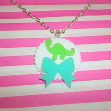 Cute Dinosaur Necklace, Jade Green Bow, Kawaii Dinosaur Jewelry, Quirky, Brontosaurus, Laser Cut