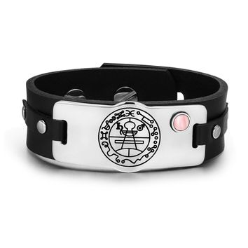 Secret Seal of Solomon Protection Magic Powers Amulet Pink Simulated Cats Eye Leather Bracelet