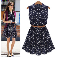 Cat Print Mini Sundress with Belt