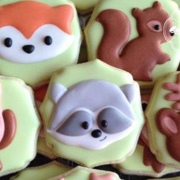 Woodland Animal Fox Owl Raccoon Deer Squirrel Baby Shower Birthday Cookies