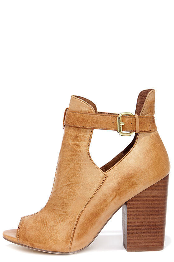 Chinese Laundry Bizarre Cognac Leather Cutout Peep Toe Booties ac472ffb5
