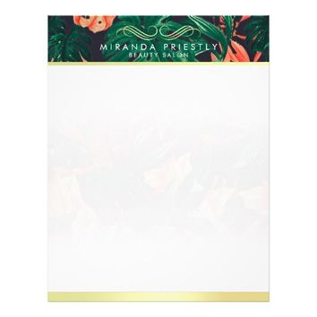 Makeup Beauty Salon Tropical Floral & Gold Script Letterhead