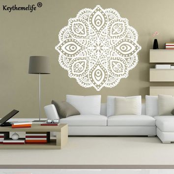 Keythemelife Mandala Wall Stickers Indian Buddhist Art Wall Sticker DIY Wallpaper Art Decor Mural Room Home Decal C3