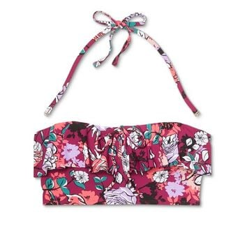 Sea Angel Women's Floral Flounce Bandeau Bikini Top - Bordeaux Floral