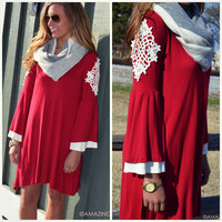 SZ SMALL Mrs. Claus Red Crochet Detail Dress