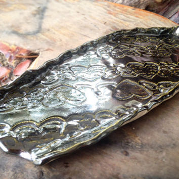 Silver Sweet Heart Rolling Tray  One of a Kind  READY TO SHIP