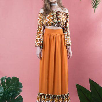 high waisted maxi skirt, boho maxi skirt, burnt orange, bohemian maxi skirt, ruffled skirt, maxi skirt with ruffles, summer skirt