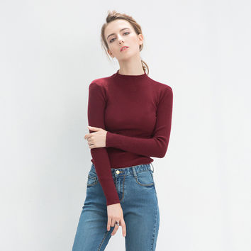 Knit Tops Winter Korean Stylish Round-neck Slim Sweater [6466226244]