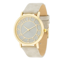 Gold and Grey Leather Strap Watch