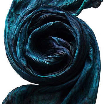 Hand Dyed Watercolor Silk Scarf in Dark Teal/ Plum