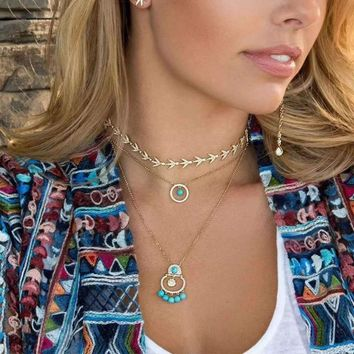 Sterling Silver Turquoise layered Necklace