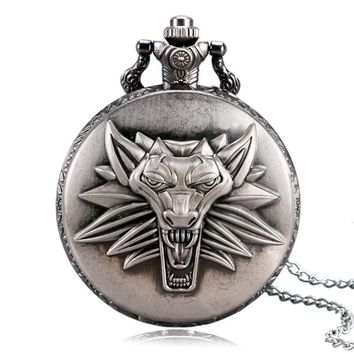 Top Game Theme The Witcher 3 Wild Hunt Vintage Pocket watch Men Chain Boy Pendant Gift 2016 Popular Relogio De Bolso