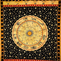 Queen Size Astrology Sign Printed 100 % Cotton Bed cover, Tapestry ,Bed Sheet,Tapestry Coverlet,Wall Hanging, Hippie Wall Hanging,