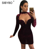 Sibybo Women Velvet Dress 2016 Autumn Winter Long Sleeve Sexy Hollow Out Bodycon Club Wear Short Party Dresses Vestido