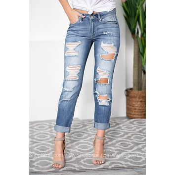 Shredded Rolled Up Denim Boyfriend Jeans