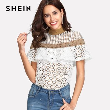 SHEIN White Stand Collar Colorblock Blouses Summer Womens  Short Sleeve Sexy Tops Mock Neck Geometric Lace Ruffle Top