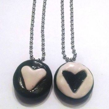 Best Friends Oreo Cookie Necklaces, Polymer Clay Jewelry, Valentine's Day, Food