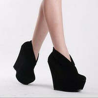 Women New Platforms Wedge Trendy High Heels Suede Shoes Fashion Ankle Boots 1mU