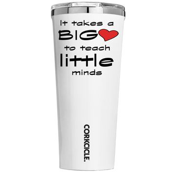 Corkcicle It Takes a Big Heart to Teach on White 24 oz Tumbler Cup