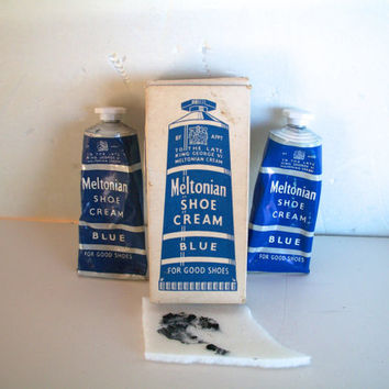 Vintage Lot Of 2 Dark Blue Meltonian Shoe Cream Tubes In Original Box 1940s