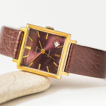 Square unisex watch, gold plated watch Glory, rare face men watch Glory,  boyfriend watch, aubergine shade watch, premium leather strap new