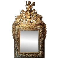 18th Century Italian Carved Open-Work Giltwood Mirror Depicting the Four Seasons