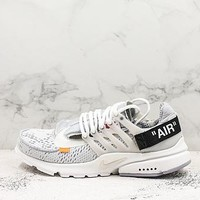 Off White X Nike Air Presto Black Gray White Running Shoes - Best Deal Online
