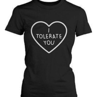 "I Tolerate You Women'¬""¢s Cute Graphic Shirts Black Short Sleeve Tees Trendy T-shirt"