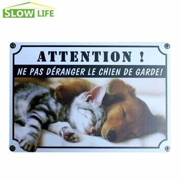 Dog And Cat Metal Tin Sign