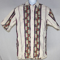 Vintage Wrangler Western Medium Rockabilly Indian Aztec Navajo Yoke Pearl Snap Shirt