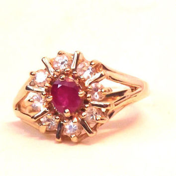 Vintage Diamond and Ruby Red .80 Carat Ring / 14K Yellow Gold