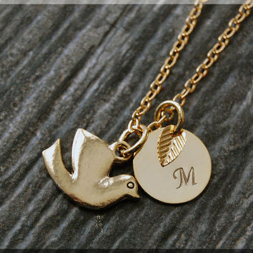 Gold Dove Charm Necklace, Initial Charm Necklace, Personalized, Dove Pendant, Peace Dove Jewelry, Monogram Dove Necklace, Bird Necklace