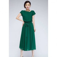 Green Scoop Neck Ruffled Elastic Waist Short Sleeves Chiffon Midi Dress