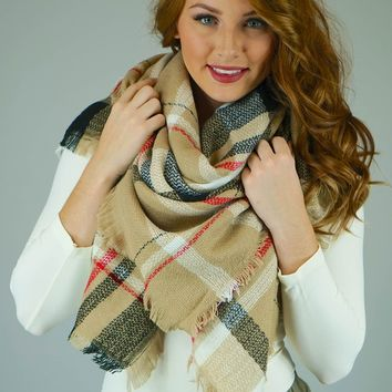 Beige, Black and Red Plaid Blanket Scarf