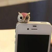 MagicPieces Big Eye Rhinestone Owl Plugy for iPhone Red Dust Proof Plugy Dust Plug 3.5mm Headphone Jack Plug for iPhone Samsung Blackberry iPad HTC
