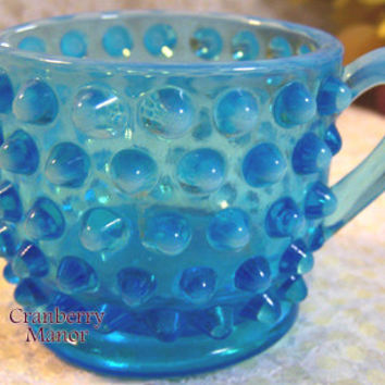 Fenton Art Glass, Blue Opalescent Hobnail Creamer, Tea Coffee Accessories, Morning Breakfast, Vintage American Designer Home Decor Glassware
